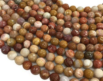 Petrified Wood Faceted Round Beads,6mm 8mm 10mm Gemstone Beads ,Approx 15.5 Inch Strand