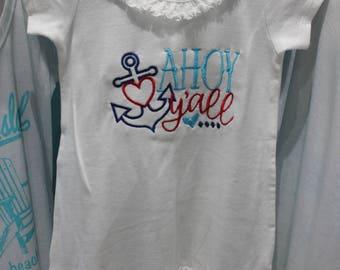 Ahoy Y'all Anchor Girls' Dress // Little Girls' Dress // Swim Coverup // Girls Beach Dress