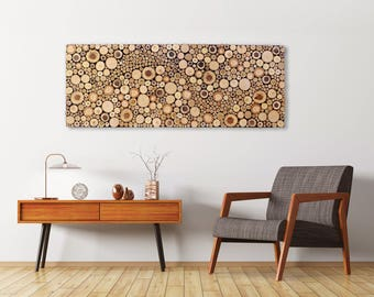 WOOD SLICE Wall Art, Wave, Modern Rustic Decor, Wood Wall Sculpture, Abstract, Tree Branch Rings