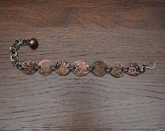 Sterling silver bracelet bronze old coins Golden Horde