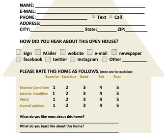 Real estate forms, open house feedback form, open house sign in sheet, realtor, download, instant
