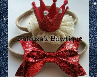 Red Glitter Bow and Crown Headband Set