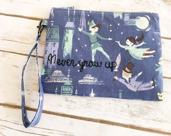 Disney Inspired Peter Pan Zipper Pouch / Embroidered / never grow up