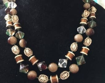 Vintage Two Strand Earthtone Color Necklace