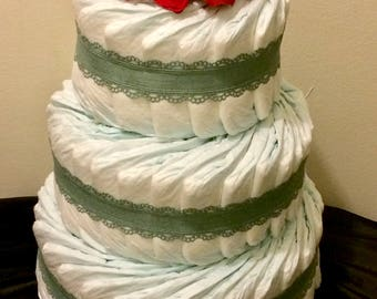 diaper cake, baby shower gift, diapers, mom to be gift