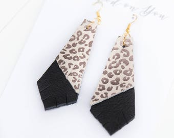 CHEETAH {FELINE COLLECTION} - Layered Geo Leather Statement Earrings