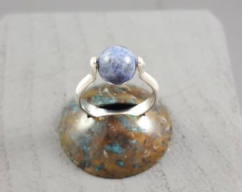 Ring model small Sphere Silver 925 and sodalite size 52