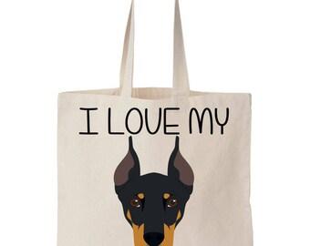 I Love My Doberman Canvas Tote Bag