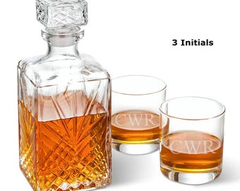 Bormioli Rocco Selecta Square Decanter with Stopper and 2 Low Ball Glass Set - Wedding Gifts - Liquor Decanter Set - Glassware - Decanter