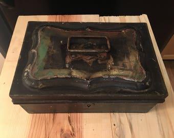 Vintage metal box lock box