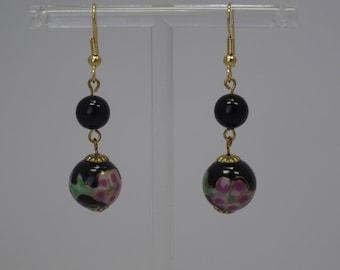 Japanese, cloisonne beaded earrings