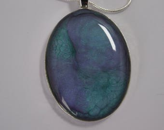 Hand painted, oval iridescent pendant