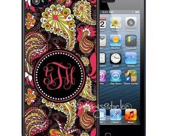 Personalized Rubber Case For iPhone X, 8, 8 plus, 7, 7 plus, 6s, 6s plus, 5, 5s, 5c, SE - Black Lime Paisley