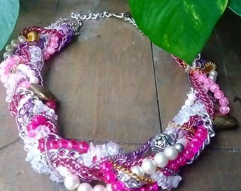 Pretty in pink cluster necklace