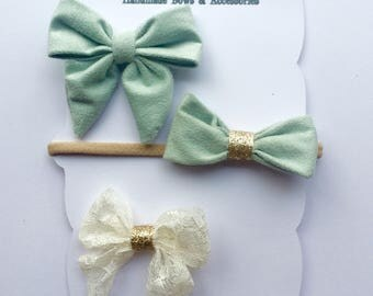 3 pack of bows, Mint & Lace