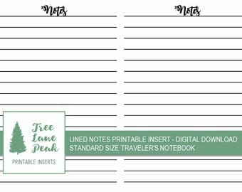 Notes Lined Printable TN Insert - Standard Size