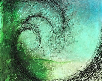 Blue Green Wave-Fine Art Oil Painting on Stretched Canvas
