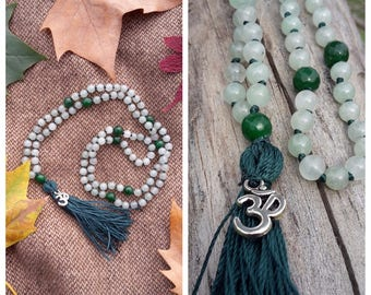 Japa Mala Hand Knotted, 6mm green Jade and 8mm green Agate Beads