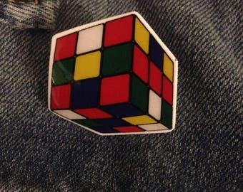 rubix cube lapel pin