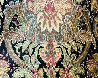 SALE!! Designer Brocade Satin Damask Fabric - Upholstery- Black with Multi Color Floral Motif- Sold By The Yard