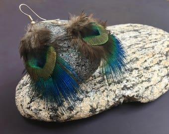 boucles d'oreilles en plumes naturelles
