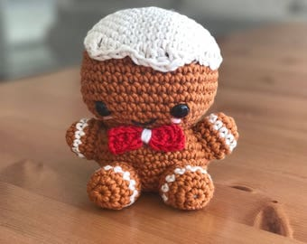READY TO SHIP - Christmas Gingerbread man - Crochet amigurumi / gift / toy