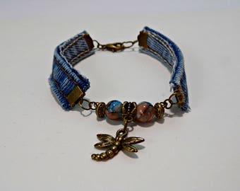 Upcycled Blue Jean Denim, Recycled Blue Jean Seam Bracelet, Rustic Dragon Fly Bracelet