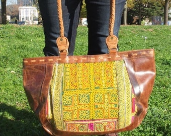 Ethnic style - Shoulder bag - Tote bag leather bag