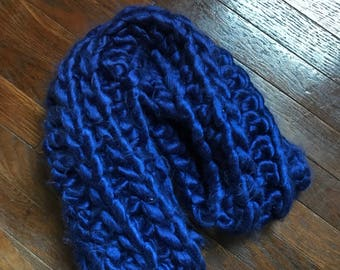Extra bulky royal blue infinity scarf
