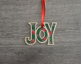 "Hand painted Wooden ""Joy"" Christmas Ornament with Ribbon"