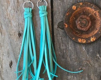 Leather tassel earrings, leather earrings, Tassel earrings, Boho earrings, Leather earrings, Valentine's Day, Gift for her, Gift