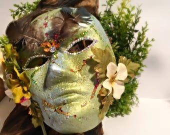 Equinox, festival mask, fairy mask, party mask, Halloween, hand held, costume mask, Mother Nature, cosplay, solstice mask, masquerade
