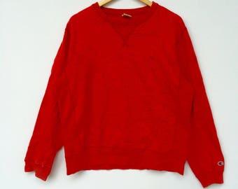 Champion Sweatshirt Red colour Big Logo Embroidery Sweat Medium Size Jumper Pullover Jacket Sweater Shirt Vintage 90's