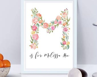 Floral 'M' Monogram Printable- Digital File