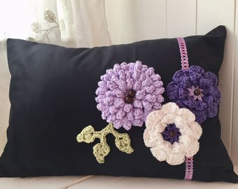 Purple Flower pillow, Decorative pillow, Crochet flower pillow, with lace and beads, Elegant pillow, purple lovers, Black and purple decor