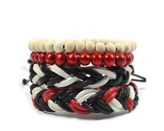 4 Pack Fire Red Bracelet Set