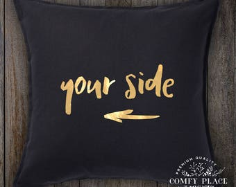 Your side - cushion cover with shiny gold lettering