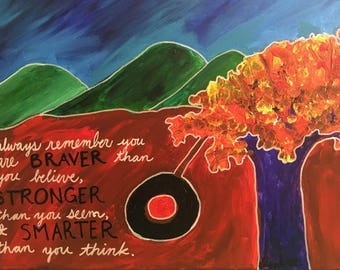 Winne-the-Pooh Quote Acrylic Painting