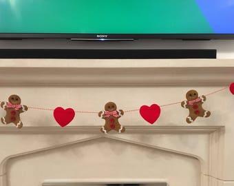 Gingerbread man and hearts hanging garland christmas bunting