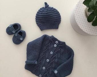 Kuzzy Design Baby Knit Cardigan,3/6/9/12/18/24 months,Knit Cardigan,Baby Knit Cardigan,Hand Knit Cardigan
