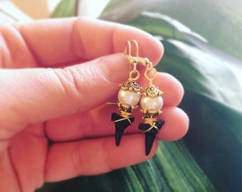 Gold beaded sharks tooth earrings- Sharks tooth earrings with pearl accent-Island jewelry- Beach earrings-