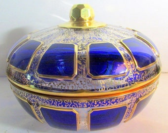 Very Beautiful Amethys Jewelled Antique Moser Cabochon Covered Bowl,Casket