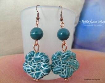 Handmade ceramic beads earrings green and copper