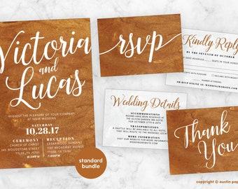 Copper Liquid Texture Customized Printable Wedding Invitation Bundle - Standard