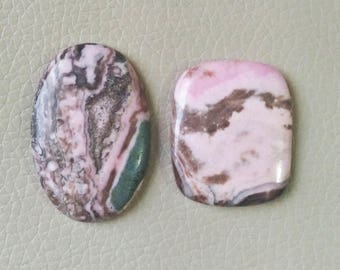 Natural Rhodochrosite Cabochon 2 Pieces Stones, Rhodochrosite Cabs, Mix Shape Rhodochrosite Stone, Smooth Super Shiny, Weight 194 Carat.