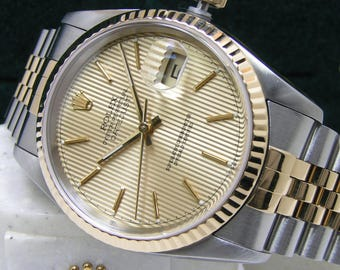 Rolex Men's 16233 DateJust Champagne Tapestry Dial Boxes Booklets Papers 18kt Gold Steel 100% Authentic