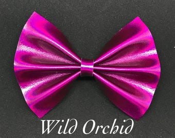 Wild Orchid- Metallic Faux Leather Bow