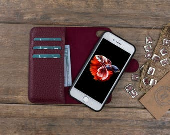 Detachable Leather Wallet Case for iPhone 7 / 7 Plus, Genuine Leather iPhone 7 Case, Personalize iPhone 7 Plus Card Holder Cover, Burgundy
