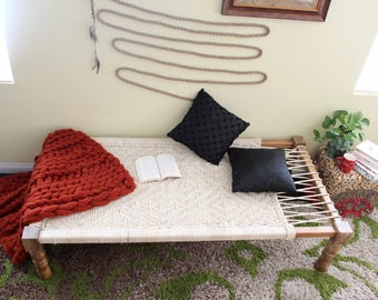 Modern Rope Bed - Off White Color - Indian Vintage Furniture Charpoy - Handcrafted Wooden Frame