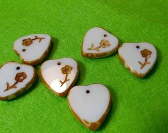 3 Sweet heart beads